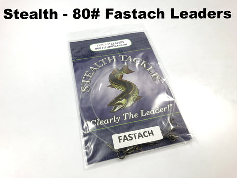 Stealth Tackle - 80# Fluorocarbon Fastach Leaders (ST80 Fastach 2 Pack)