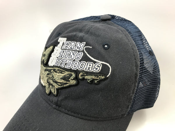 Team Rhino Outdoors Navy Mesh Snapback Hat w/raised fish logo