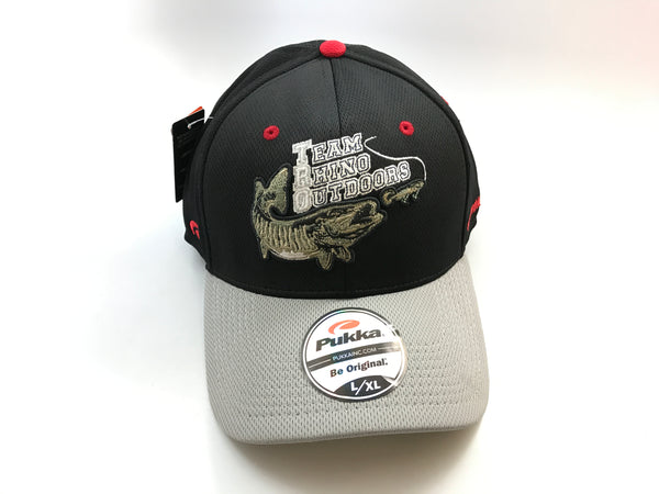Team Rhino Outdoors Black/Grey Flex Fit Hat w/raised fish logo