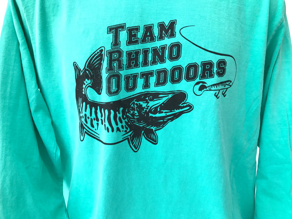 Team Rhino Outdoors  Seafoam/Black Long Sleeve Classic Logo T