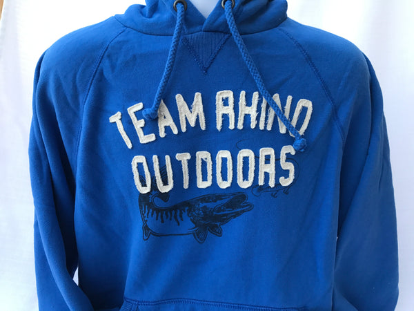 Team Rhino Outdoors - Fish Logo Appliqué Hoodie Royal Blue (Large and 2XL Only)