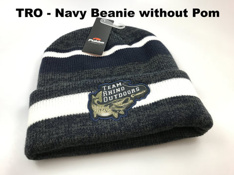 TRO - Navy/Charcoal/White Beanie Hat without Pom