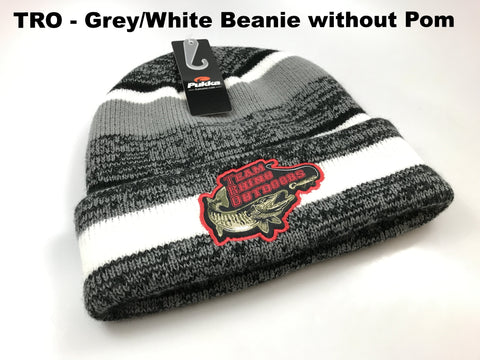 TRO - Grey/White/Black Beanie Hat without Pom
