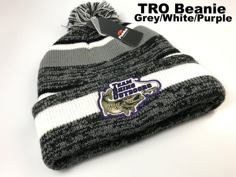 TRO - Grey/White/Purple Beanie Hat