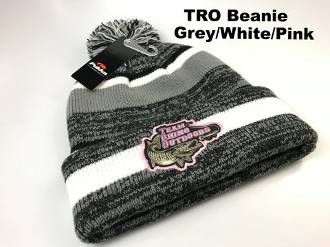 TRO - Grey/White/Pink Beanie Hat