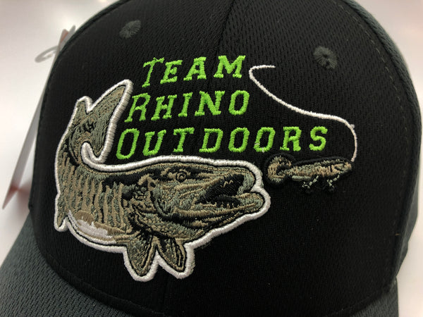 Team Rhino Outdoors Black/Charcoal/Lime Flex Fit Hat w/raised fish logo