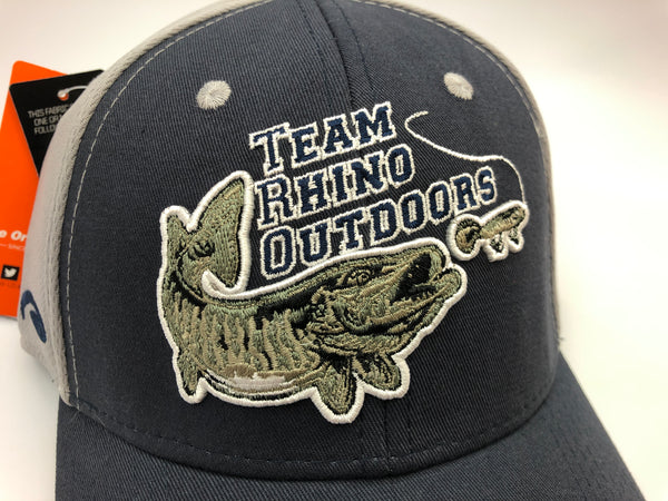 Team Rhino Outdoors Navy/Grey Flex Fit Hat w/raised fish logo