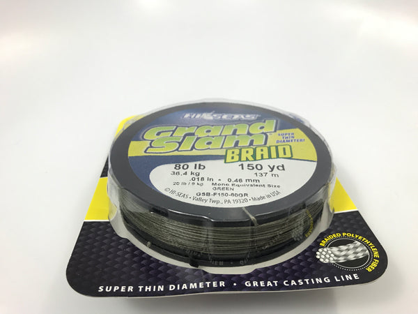 Hi Seas 80# Grand Slam Braid 150 yd Spool