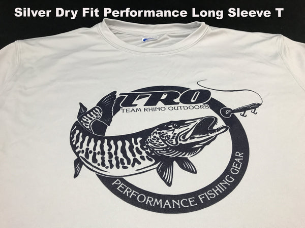 Team Rhino Outdoors Silver Dry Fit Performance Long Sleeve T w/very Dark Navy Circle TRO logo (2XL Only)