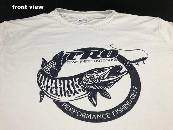 Team Rhino Outdoors Silver Dry Fit Performance Long Sleeve T w/very Dark Navy Circle TRO logo