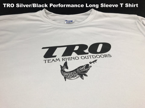 Team Rhino Outdoors Silver w/ Black TRO Dry Fit Performance Long Sleeve T (XL Only)