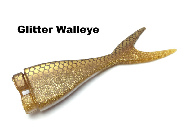 Musky Innovations Mag Shallow Invader Replacement Tail - Glitter Walleye
