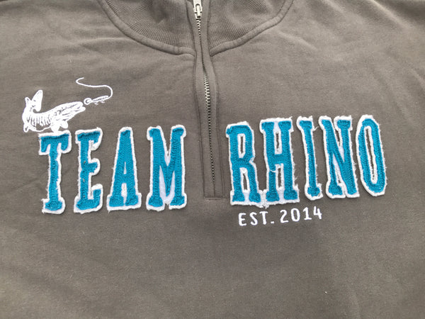 Team Rhino Outdoors - Charcoal/Blue Quarter Zip Sweatshirt (Small and Medium Only)