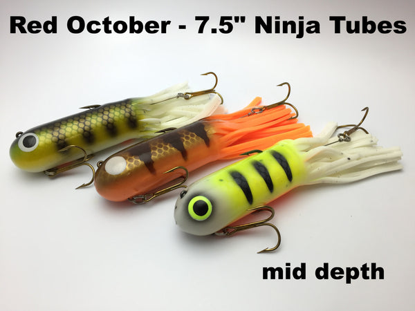 "Red October Baits Custom 7.5"" Ninja Tube Mid Depth"