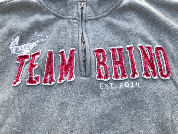 Team Rhino Outdoors - Grey/Red Quarter Zip Sweatshirt (Small and Medium Only)