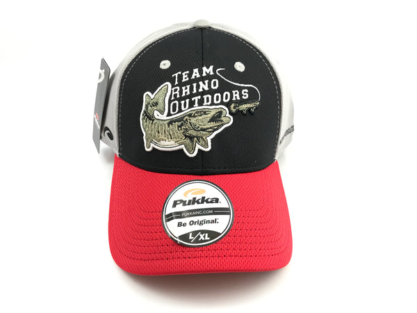 Team Rhino Outdoors Black/Red/Grey Flex Fit Hat w/raised fish logo