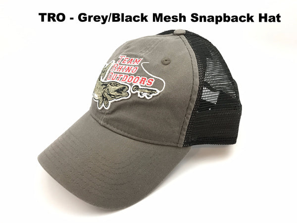 Team Rhino Outdoors Grey/Black Mesh Snapback Hat w/raised fish logo