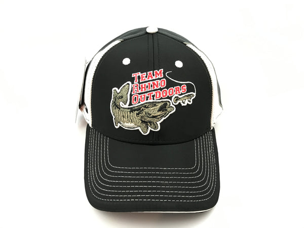 Team Rhino Outdoors Adjustable Black/Grey/White Hat w/raised fish logo