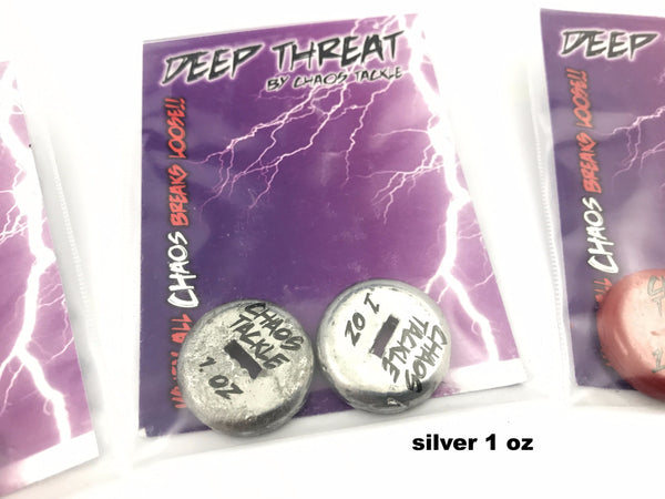 Chaos Tackle Deep Threat Weights 1/2 oz, 1 oz, or 1 1/2 oz (2 Pack)