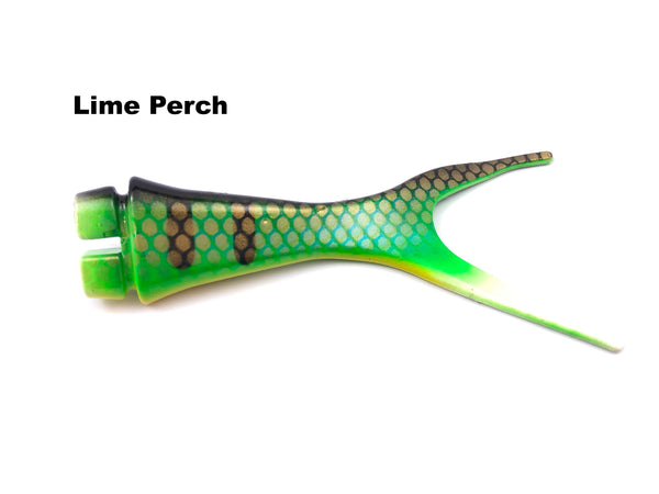 Musky Innovations Shallow Invader Replacement Tails - Lime Perch