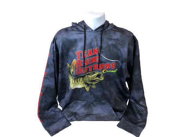 Team Rhino Outdoors - Black Grey Scale Performance Heavy Fleece Hoodie