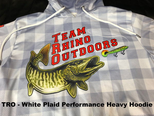 Team Rhino Outdoors - White Grey Plaid Performance Heavy Fleece Hoodie