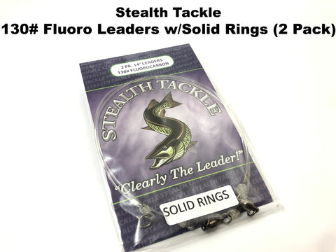 Stealth Tackle - 130# Fluorocarbon Leader SOLID RING 2 Pack (ST130 Solid)
