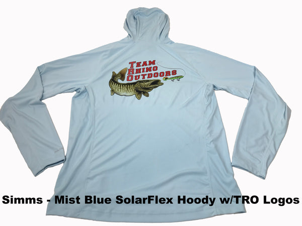 Simms Fishing Mist Blue SolarFlex Hoody with TRO Logo