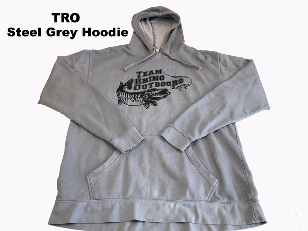 Team Rhino Outdoors - Steel Grey Ringspun Hoodie with Black Logo