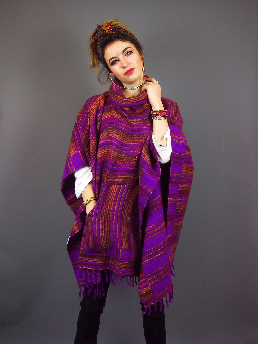 Festival Style Poncho - mixed colours