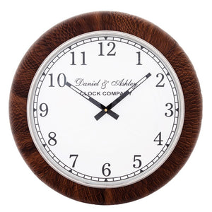 Brown Leather Wall Clock Small - GH-754 SBR