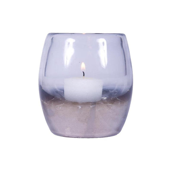 Glass Tea Light Silver 8cm - F-11014S