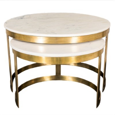 Bella Coffee table Brass Marble Top set of 2    GGI-399 B  - Back in stock !!