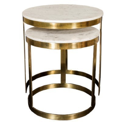 Bella Side table Brass Marble Top Set of 2 - GGI-399 SB - Back in stock !!