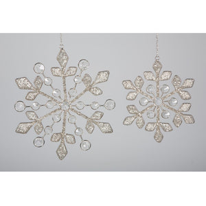 Beaded Snowflake Silver 22cm - BH-188 L