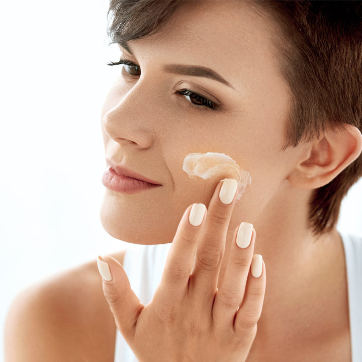 Cream, model, nails, face