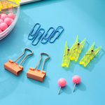 MINISO Candy Rainbow Series - Stationery Kit Binder Clip and Push Pin Pack
