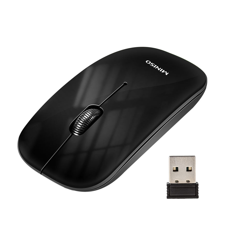 MINISO 2.4G Ultrathin Metallic Wireless Mouse, Black