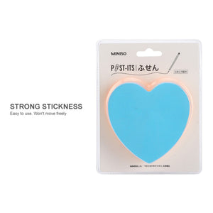 MINISO Macaron Series - Heart-shaped 4-color Fluorescence Sticky Notes 300 Sheets