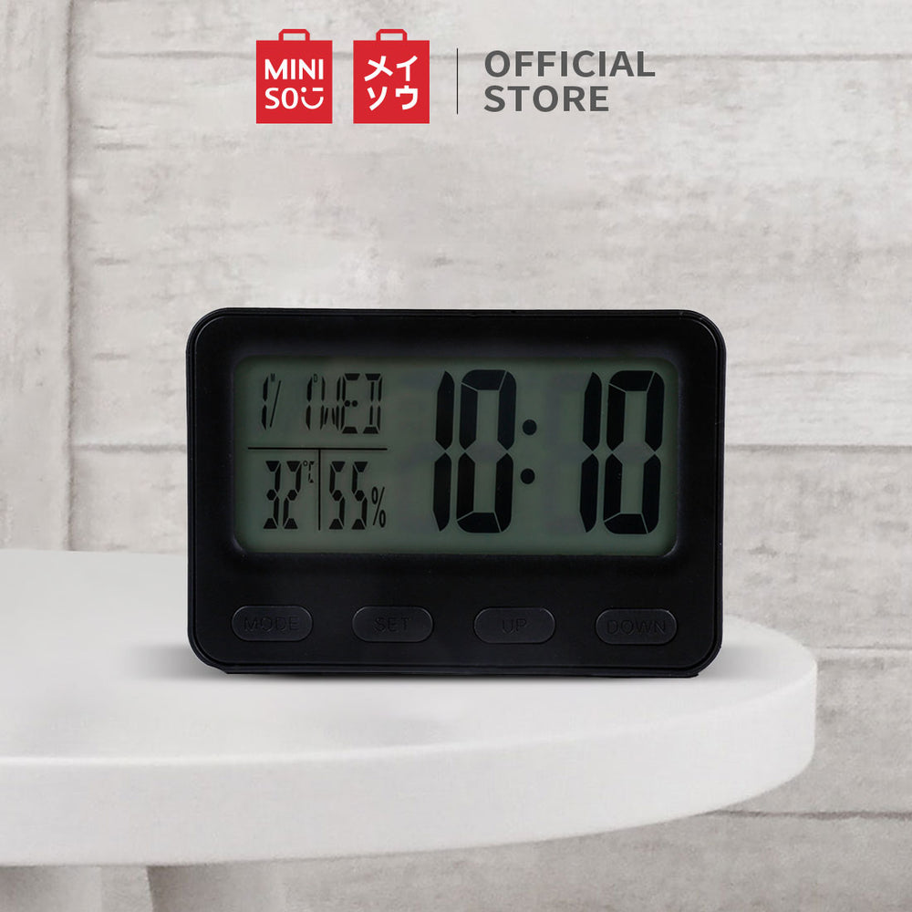 MINISO LCD Alarm Clock with Light (Black)