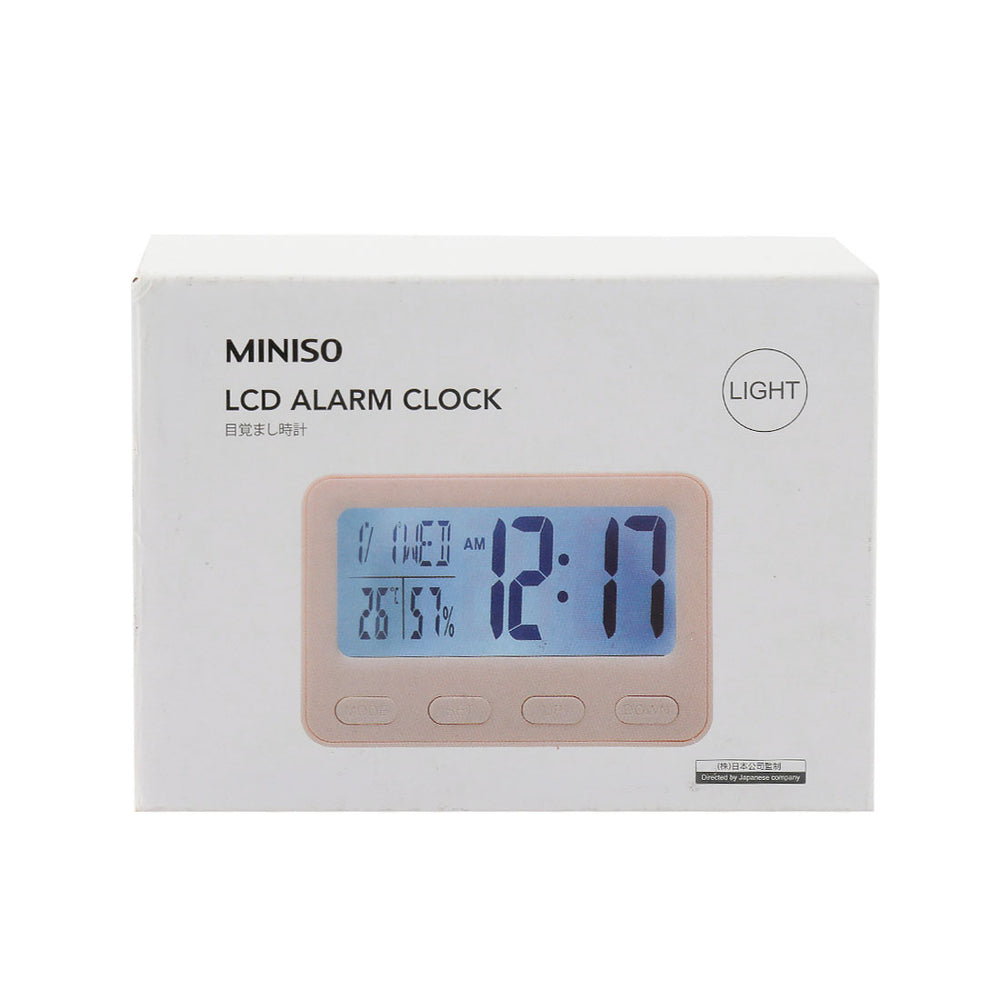 MINISO LCD Alarm Clock with Light (Pink)