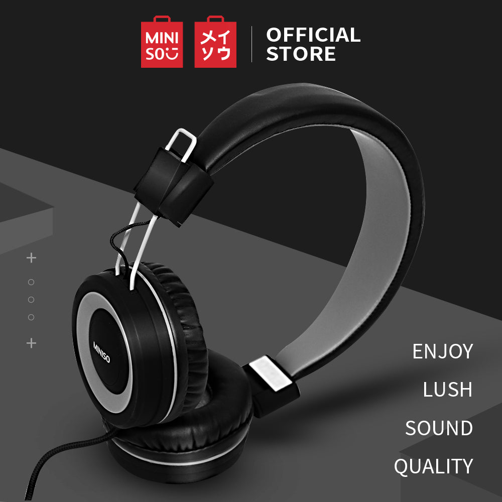 MINISO Foldable Head Phone ABS Material (Grey+Black)