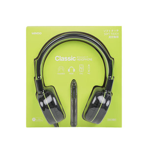MINISO Foldable Head Phone ABS Material (Green+Black)