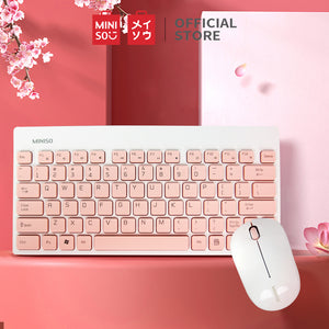 MINISO Wireless Mouse and Keyboard Set (White &Pink)