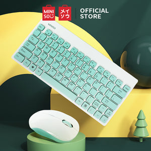 MINISO Wireless Keyboard & Mouse Set (White & Mint Green)