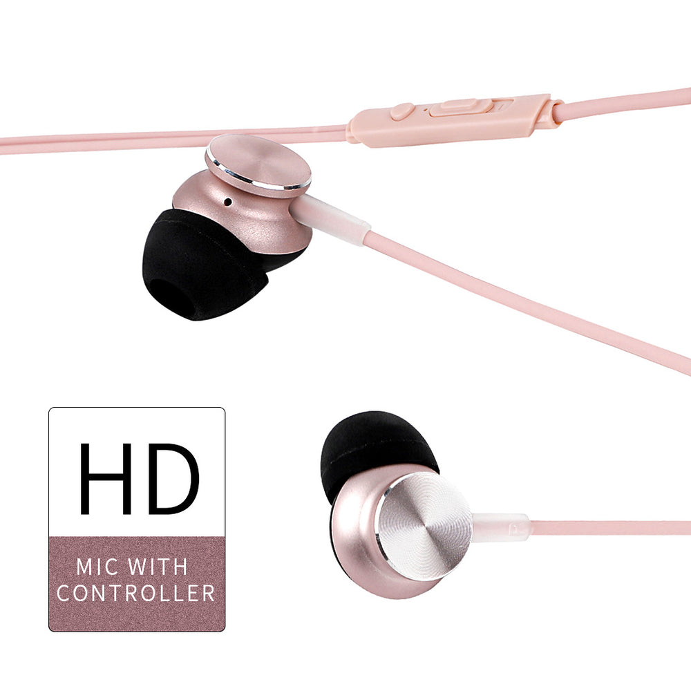 Load image into Gallery viewer, MINISO CD Pattern Hi-Fi Stereo In-ear Aluminium Earphones-Pink