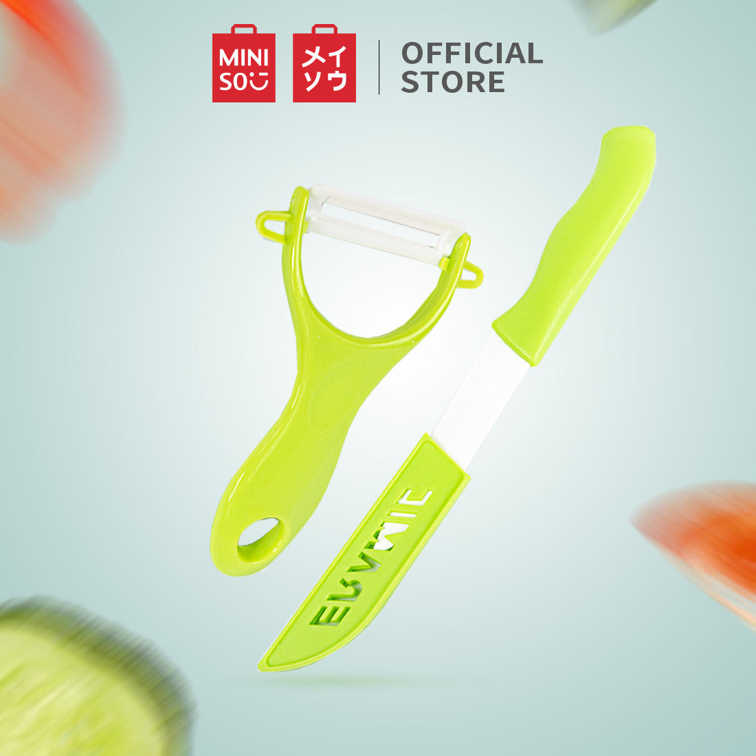 MINISO Ceramic Chef Knife Set with Sheath  and 1 Peeler