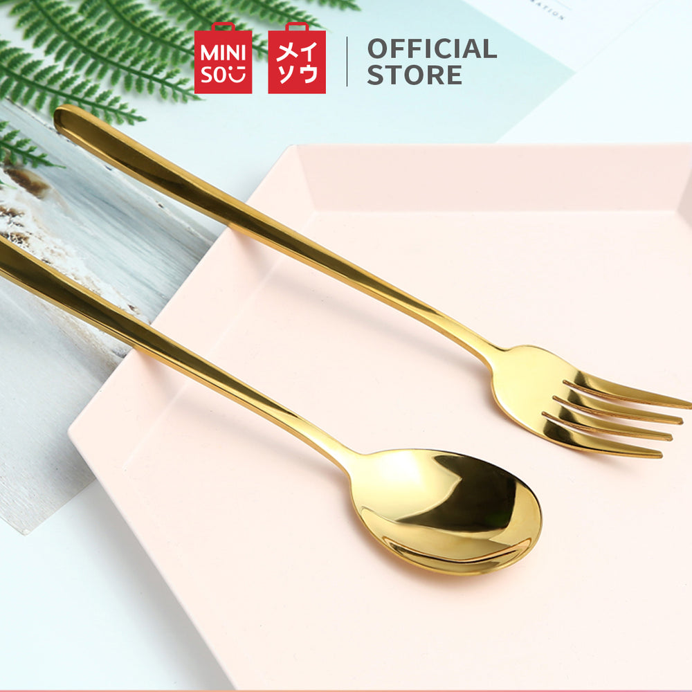 MINISO Cutlery Set (Spoon+ Fork), Gold