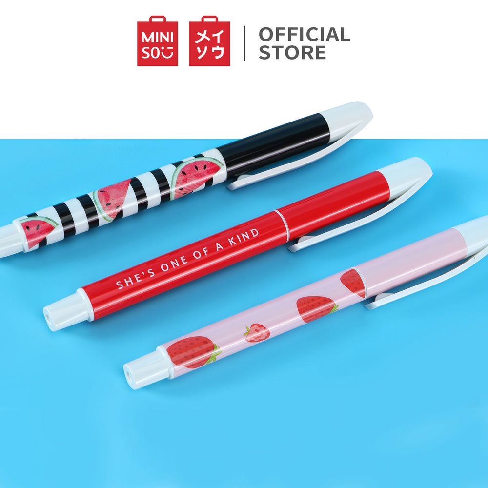 Load image into Gallery viewer, MINISO Fruit Series - Ballpoint Pen 1.0mm Set of 3, Black Ink