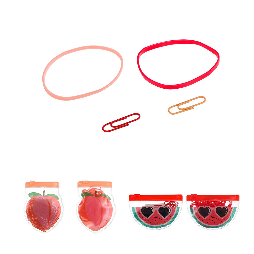 MINISO Fruit Series - Paper Clip & Rubber Band Set (Random Colour)